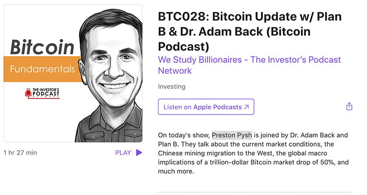 Podcast with Plan B & Dr. Adam Back